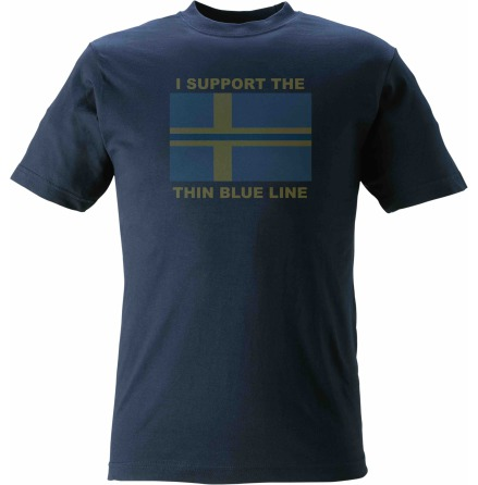T-shirt I SUPPORT THE THIN BLUE LINE + flagga med blå linje