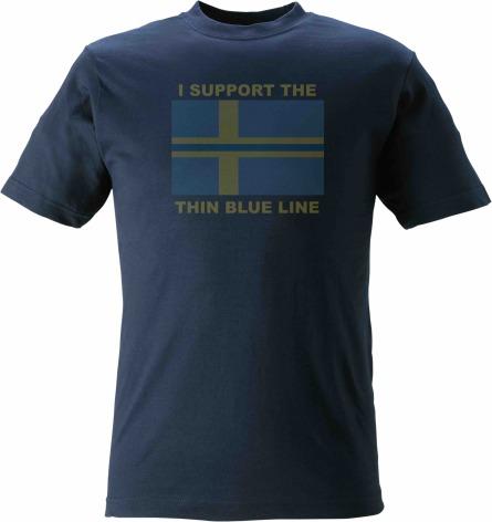 T-shirt I SUPPORT THE THIN BLUE LINE + flagga med blå linje