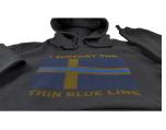 "Hoodie ""Support Thin Blue Line"" med svensk flagga"