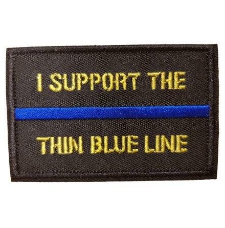 """Tygmärke """"I support the thin blue line"""" med kardborre"""